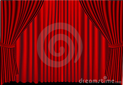Red curtains closed