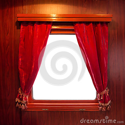 Free Red Curtains On The Window Royalty Free Stock Images - 75212949