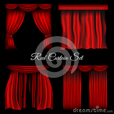 Red Curtains On Transparent Background Cartoon Vector