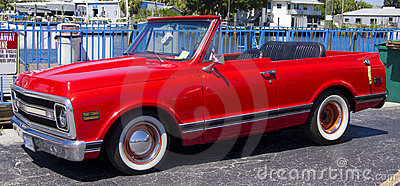 Red custom convertible pick up truck