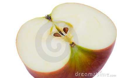 Red cut apple on a white background