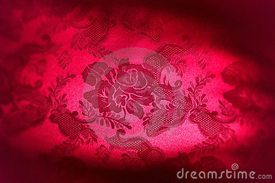 Red Damask Floral Fabric Background