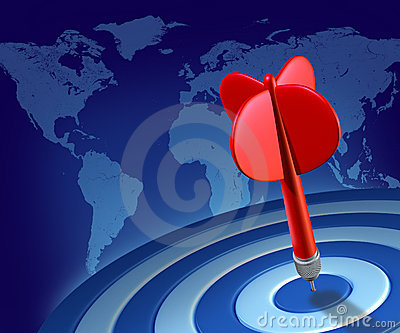 Red dart on blue target global world economy succe