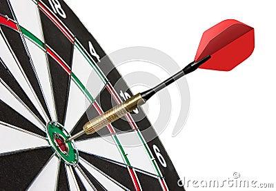 Red dart hitting a target