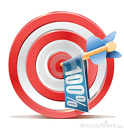 Red darts target aim and banner 100