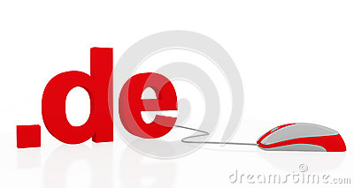Red .de text and PC mouse