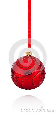 Free Red Decorations Christmas Ball Hanging On Ribbon Isolated Stock Image - 45377271