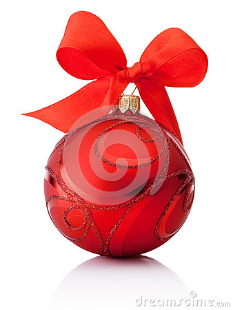 Free Red Decorations Christmas Ball With Ribbon Bow Isolated On White Royalty Free Stock Image - 44667056