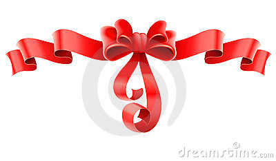 Red decorative bow with ribbon