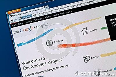 Red del Social de Google+ Imagen de archivo editorial