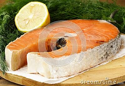 Red delicatessen  fish  salmon with lemon