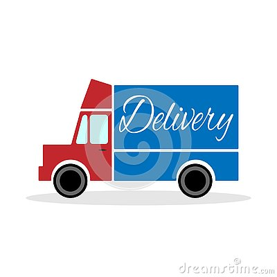 Red delivery truck with blue body. Vector illustration. Vector Illustration