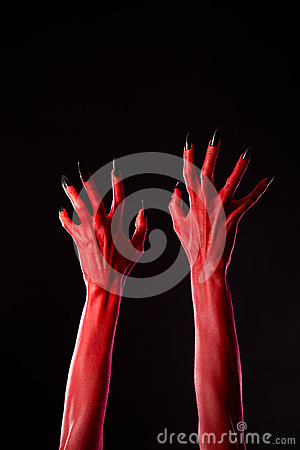 Free Red Demonic Hands With Black Nails, Real Body-art Royalty Free Stock Photography - 34389387