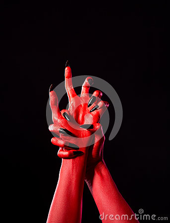 Free Red Demonic Hands With Black Nails, Real Body-art Stock Photo - 35102880