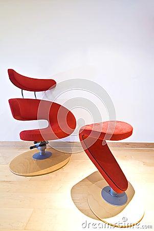 Red designer armchair