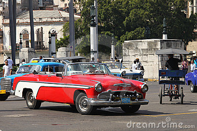A red Desoto vintage car of 1955 Editorial Photography