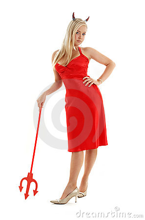 Free Red Devil Girl In Fancy Dress Royalty Free Stock Photo - 3226845