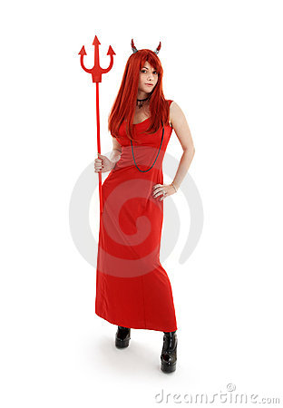 Free Red Devil Girl In Latex Boots Stock Photos - 3328343