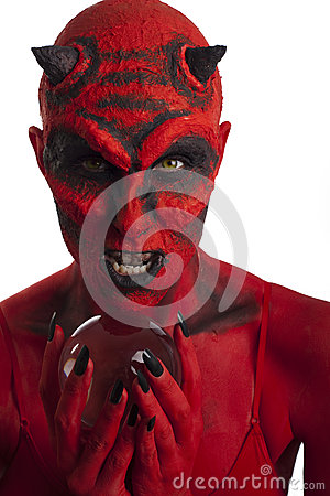 Free Red Devil With Crystal Ball. Royalty Free Stock Photo - 26454465