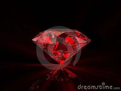 Red diamond on black background