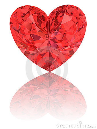 Red diamond in shape of heart on glossy white