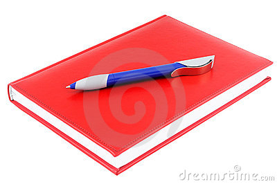 Red diary and  blue pen