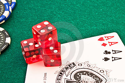 Red dice chips poker and card poker