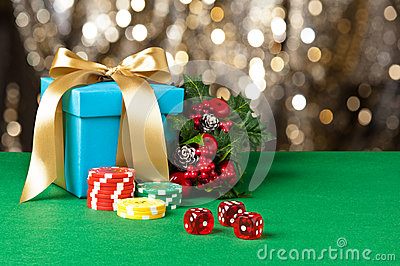 Red dice and poker chips