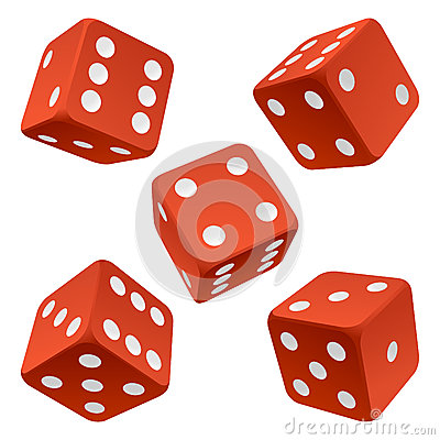Free Red Dice Set. Vector Icon Royalty Free Stock Images - 24631379