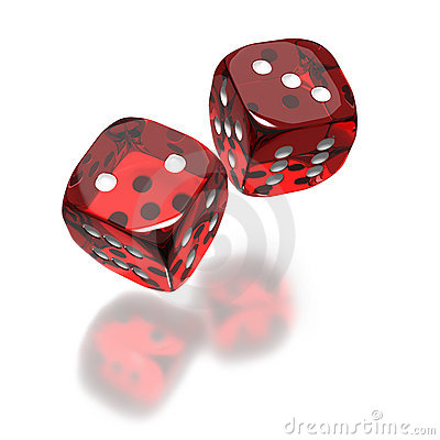 Red dice toss still in air