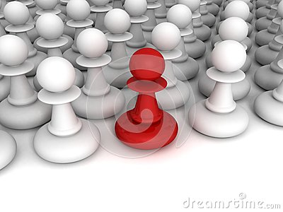 Red different pawn out from white crowd