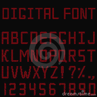 Red digital font