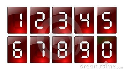 Red digital number icons