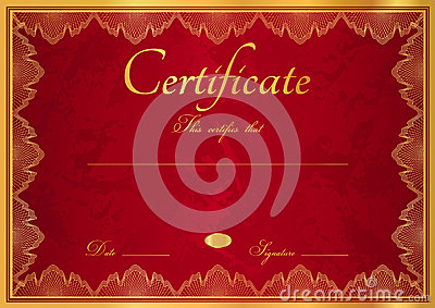 Red Diploma / Certificate Background With Border Stock ...
