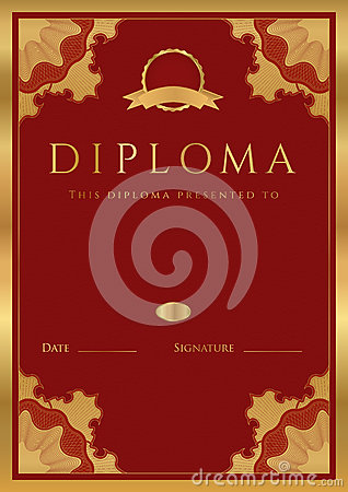 Red Diploma / Certificate background with border