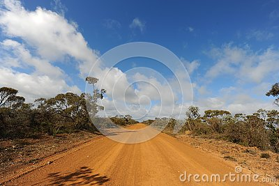 Road disappearing in to the distance, Australia Stock Photo