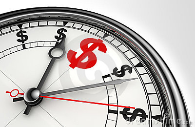 Red dollar symbol on clock face