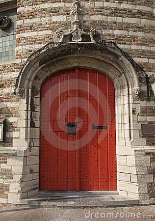 Red door of ancient prison