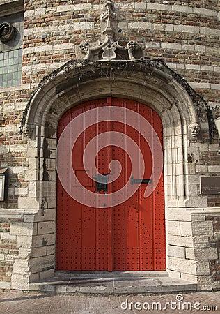 Red door of ancient prison