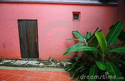 Red door, banana foliage