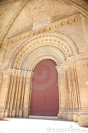 Red door of cathedral at Lleida city