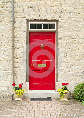 Red Door and flowers