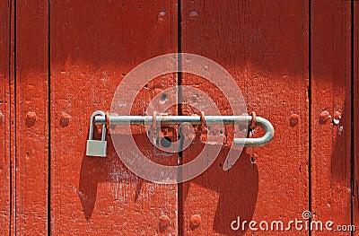 Red door with lock