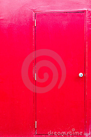 Red door with red wall