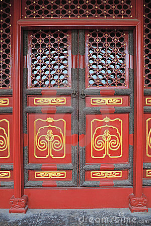 Red doors with golden painting 3