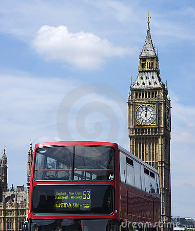 Red double decker and Big Ben London