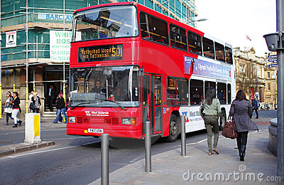 Red double decker bus Editorial Stock Photo