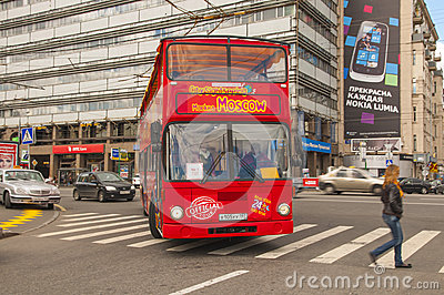 Red double-decker bus in Moscow Editorial Photography