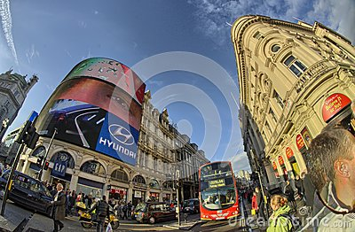 Red Double Decker Bus on the streets of London Editorial Stock Image
