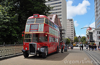 Red Double Decker Sightseeing Bus, New Zealand Editorial Stock Image